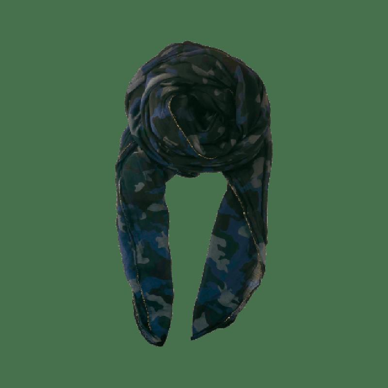 Black Colour Camo Scarf Navy