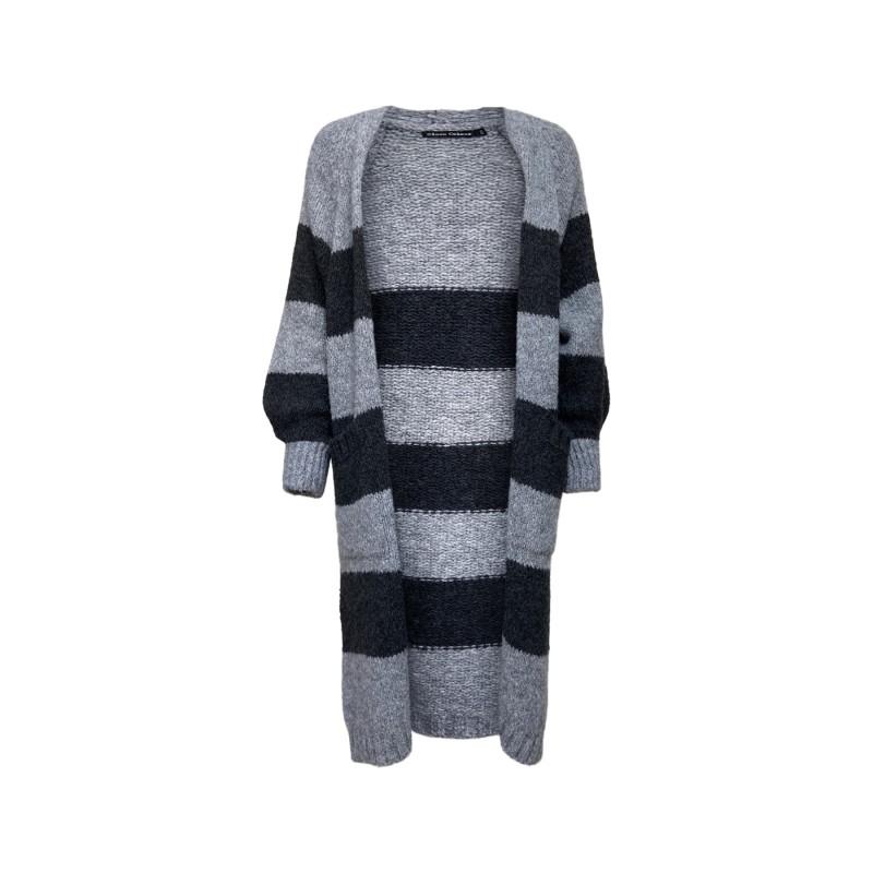 Black Colour Fabiola Long Knit Cardigan Grey/Grey
