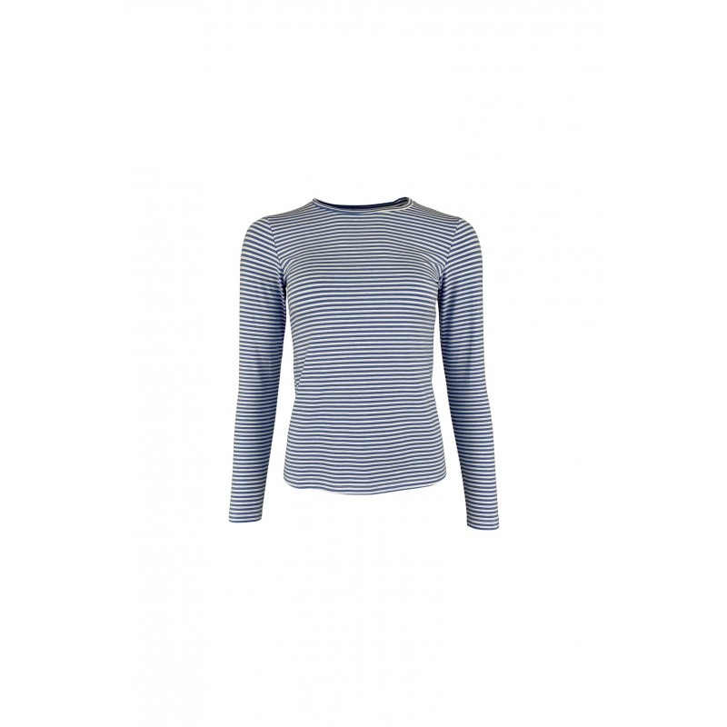 Black Colour Polly Long Sleeves Striped T-shirt Blue