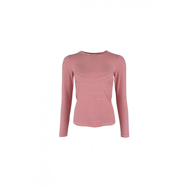 Black Colour Polly Long Sleeves Striped T-shirt Coral