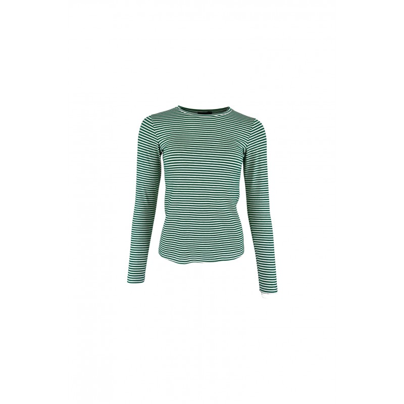 Black Colour Polly Long Sleeves Striped T-shirt Green