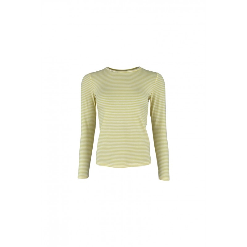 Black Colour Polly Long Sleeves Striped T-shirt Yellow