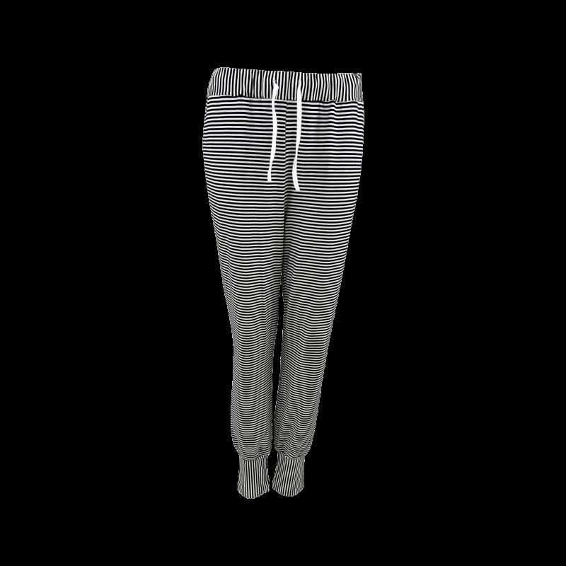 Black Colour Polly Striped Jersey Pants Black