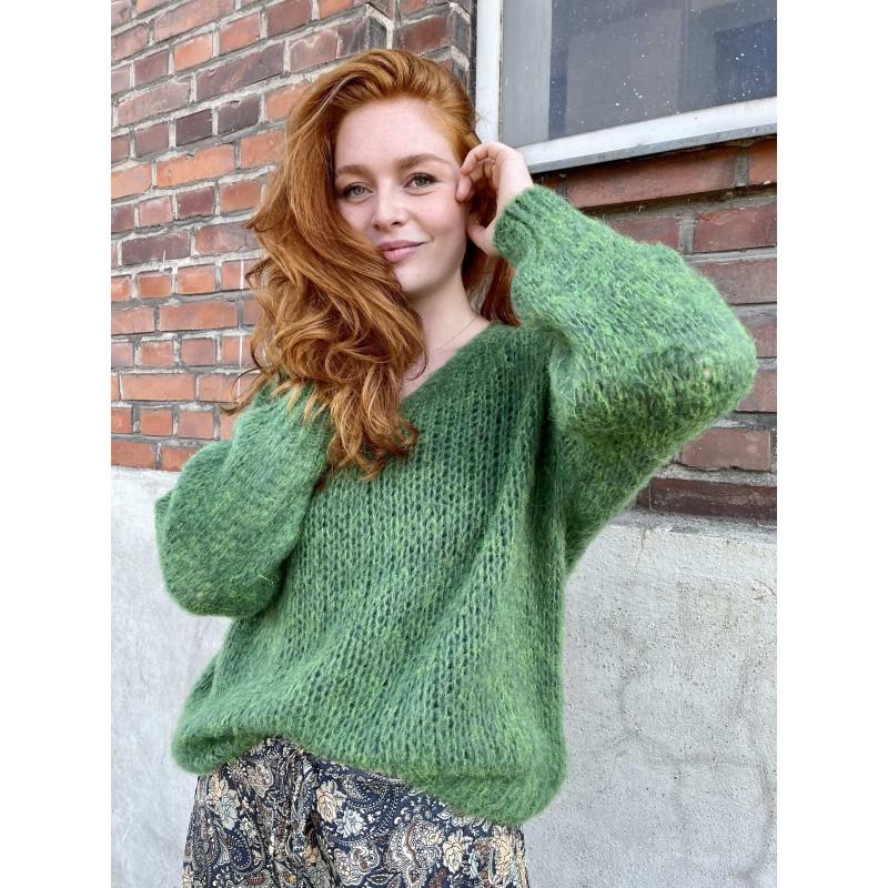 Black Colour Simona Knitted Jumper Green