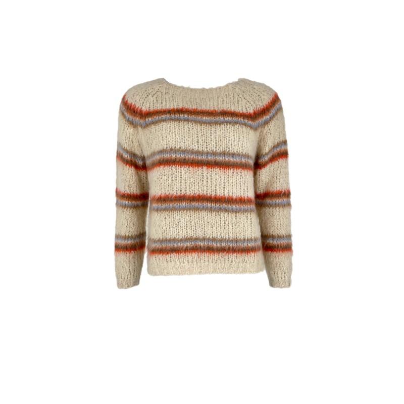 Black Colour Toni Brushed Knit Sweater Warm Beige
