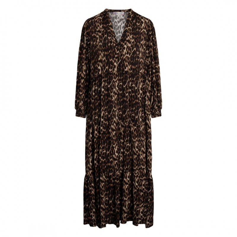 Co'couture Nabia Animal Floor Dress Mocca