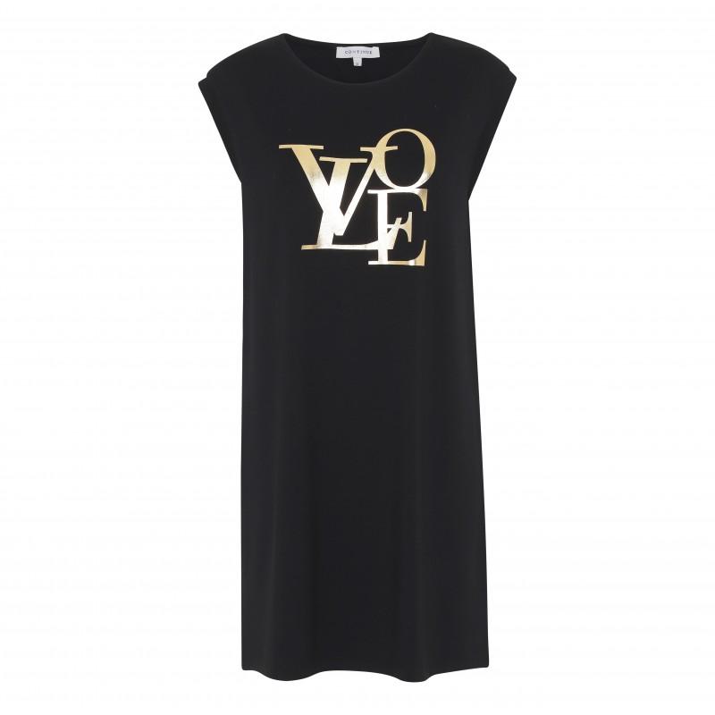 Continue Cph Dicte Dress Black W. Gold