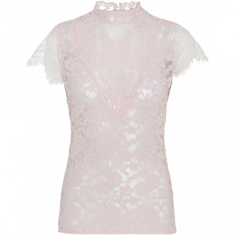 Continue Cph Laura Lace Blouse W. Short Sleeves Rose