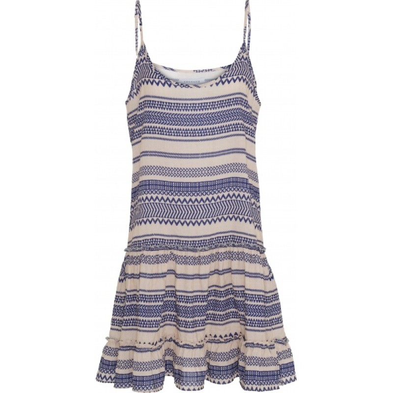 Continue Cph Laurel Strap Dress White/Blue Partisan
