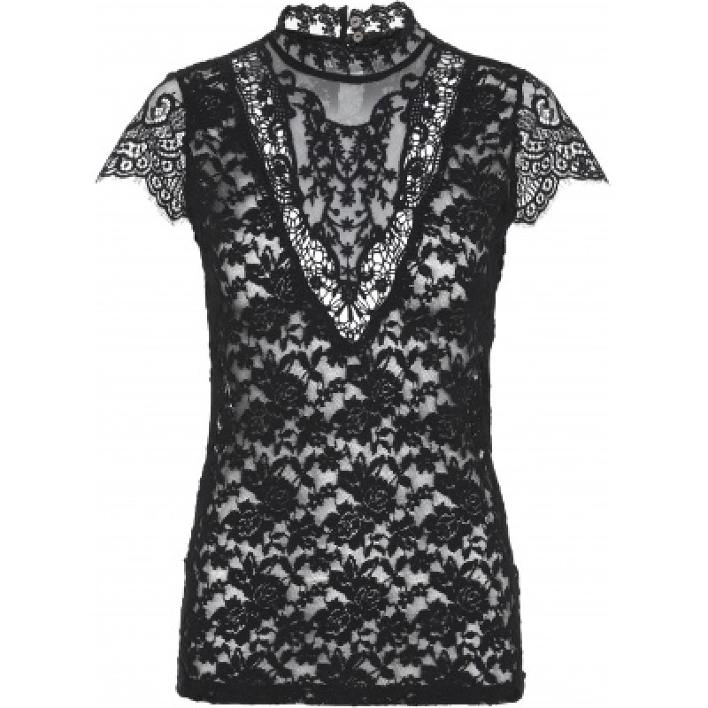 Continue Cph Laura Lace Blouse W. Short Sleeves Black