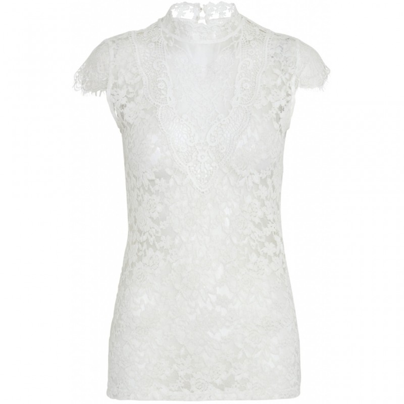 Continue Cph Laura Lace Blouse W. Short Sleeves Off White