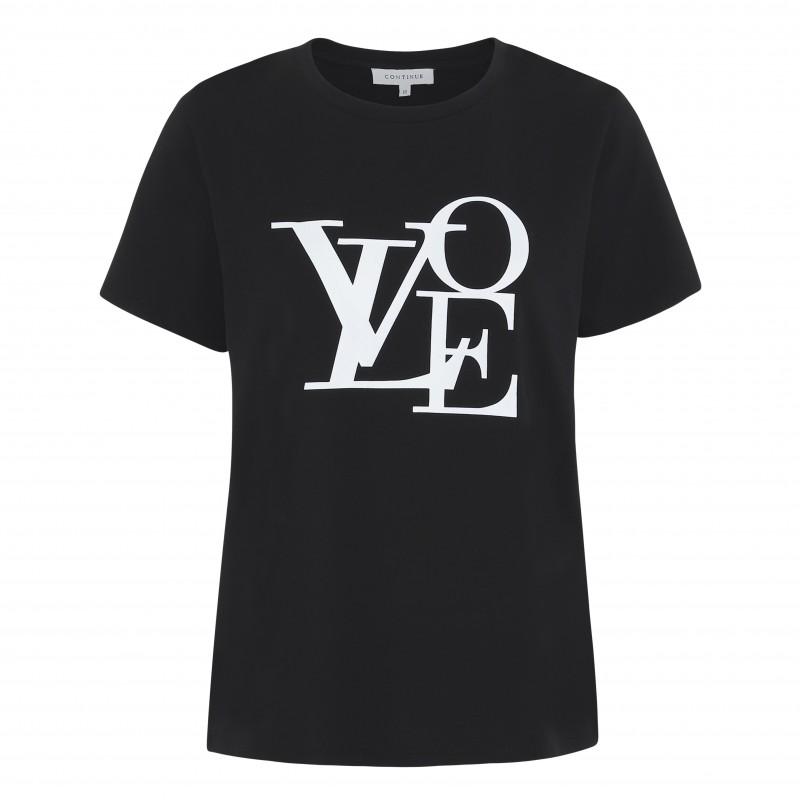 Continue Freja Love T-shirt Black W. White Print