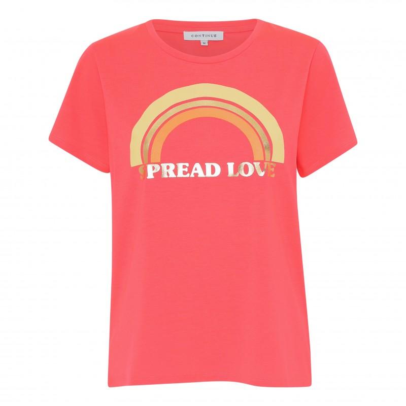 Continue Cph Rainbow T-shirt Neon Coral