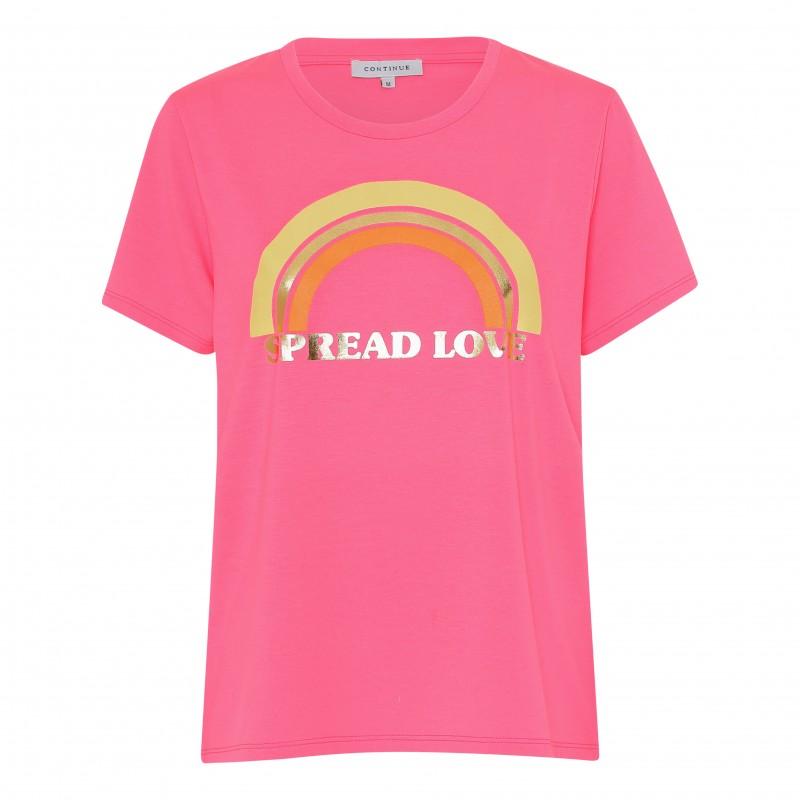Continue Cph Rainbow T-shirt Neon Pink