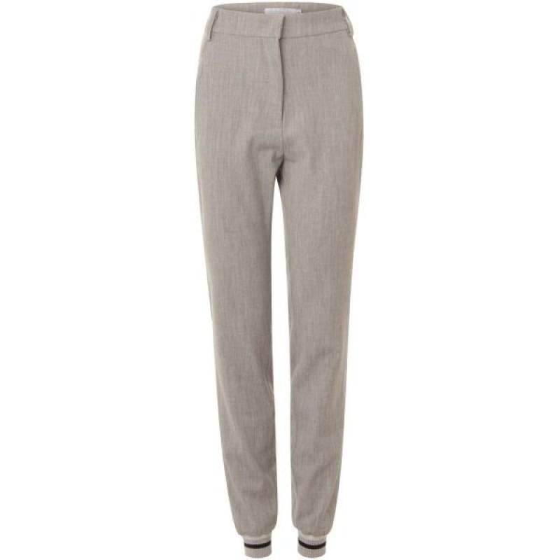 Coster Copenhagen 7/8 Pants W. Bottom Rib Light Grey Melange
