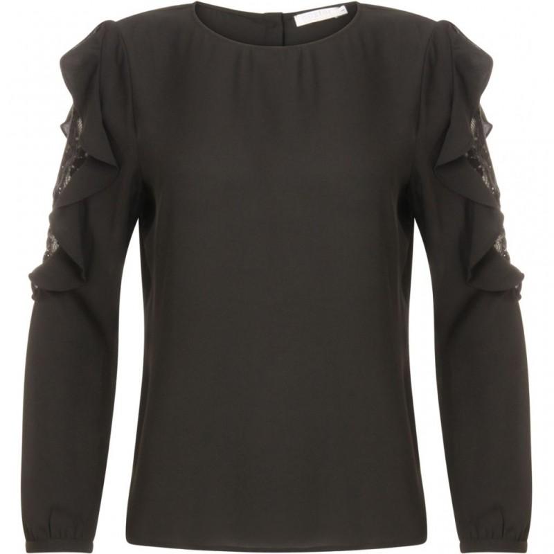 Coster Copenhagen Blouse W. Lace Details In Sleeve Black