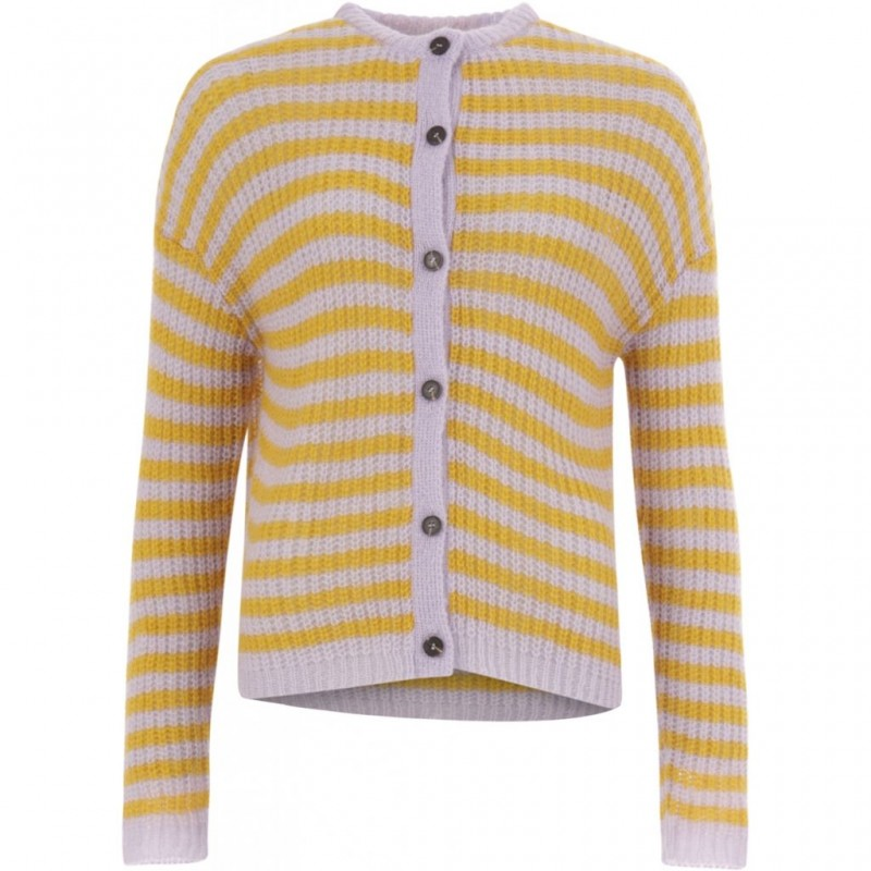 Coster Copenhagen Cardigan In Thin Mohair Knit W. Stripes Pastel Lilac