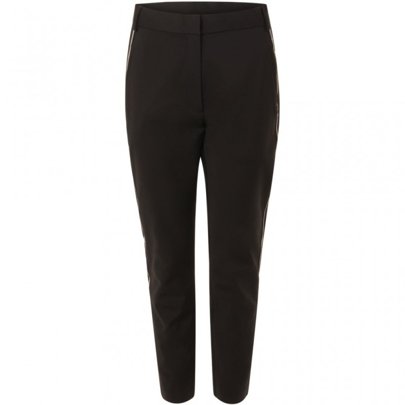 Coster Copenhagen Classic Long Pants W. Piping At Side Seam Black