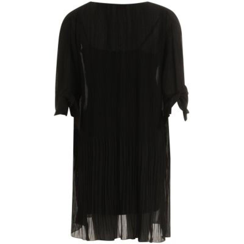 Coster Copenhagen Dress In Chiffon Plisse W. Tieband Short Sleeve Black