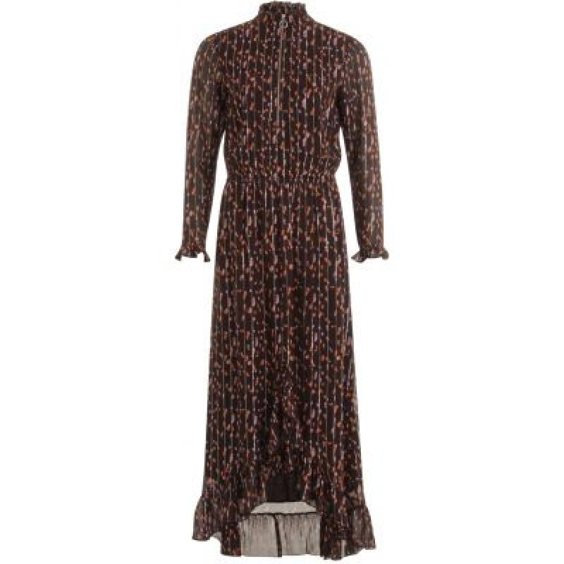 Coster Copenhagen Dress In Seeds Print W. Ruffle Blackberry