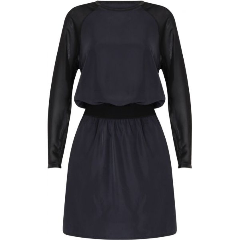 Coster Copenhagen Dress W. Chiffon Sleeve Dark Blue/Black