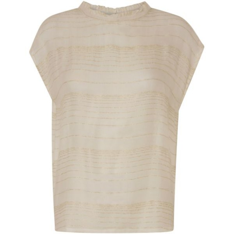 Coster Copenhagen Gold Stripe Sleeve Less Top Off White
