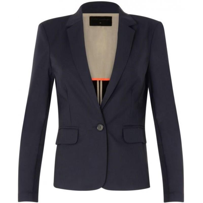 Coster Copenhagen Jacket W. Rib At Side Dark Blue