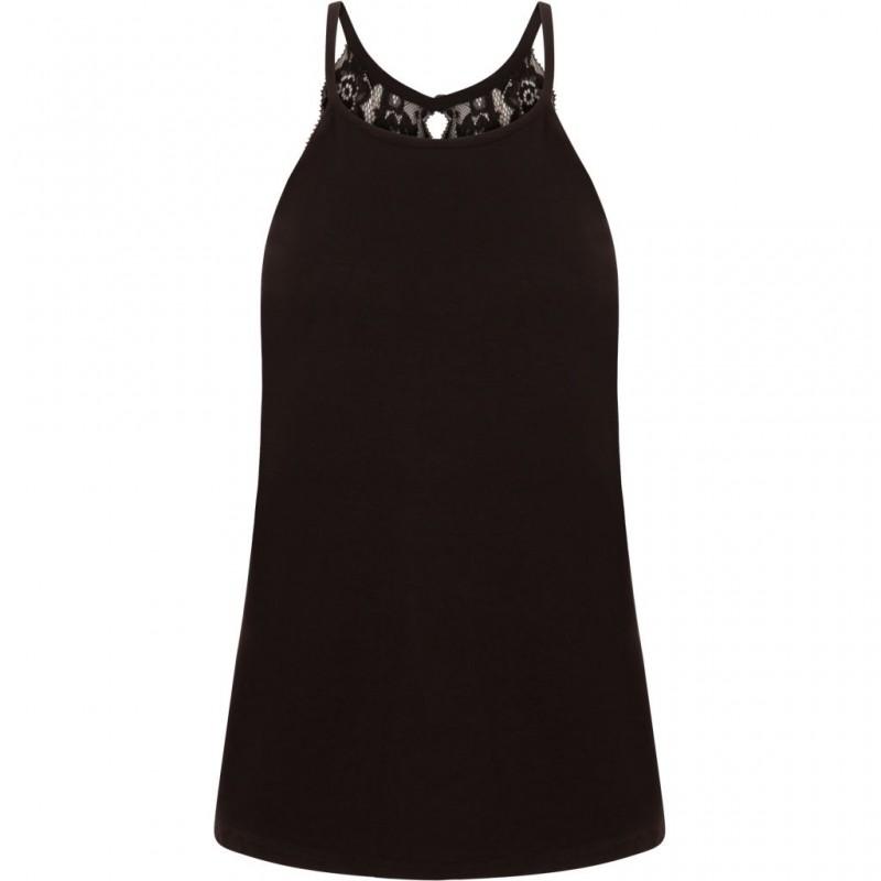 Coster Copenhagen Jersey Top W. Lace Back Black