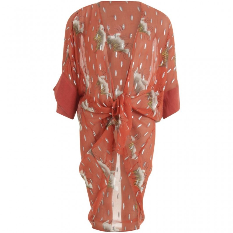 Coster Copenhagen Kimono In Sky Print W. Lurex And Tied Closing Canyon Rose