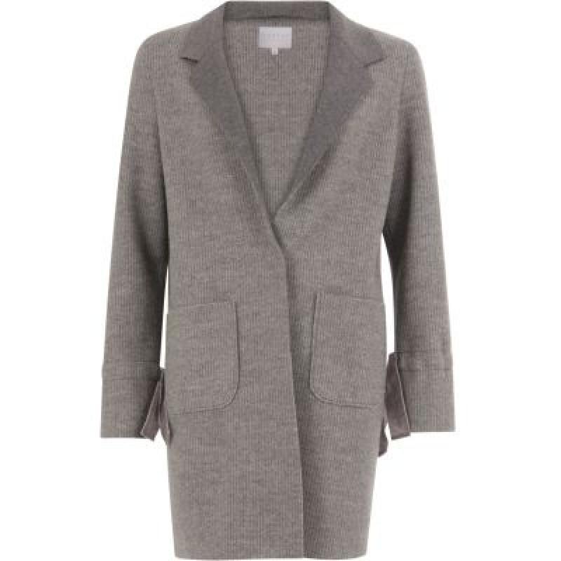 Coster Copenhagen Knit Coat Bonded W. Jersey And Tied Cuffs Grey Melange