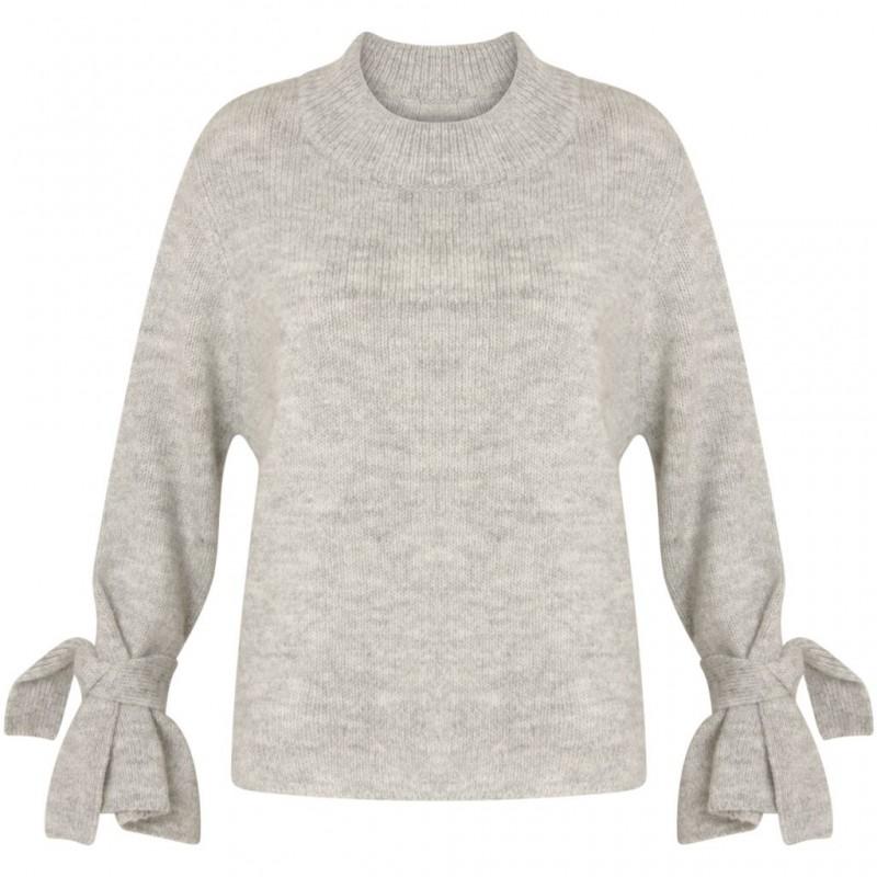 Coster Copenhagen Knit Sweater W. Tie Band Cuff Light Concrete Melange