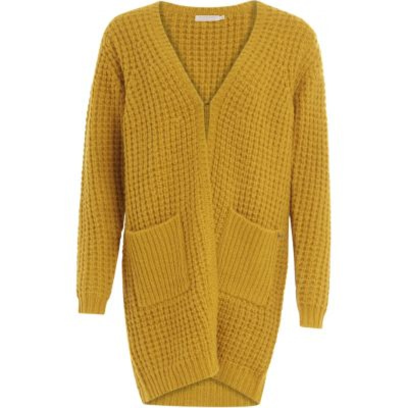 Coster Copenhagen Long Cardigan In Waffle Knit W. Pockets Mustard
