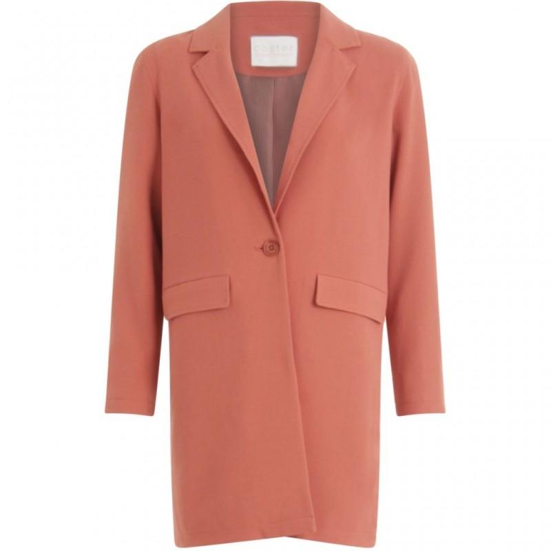 Coster Copenhagen Long Jacket W. Basting Stitch Details Canyon Rose