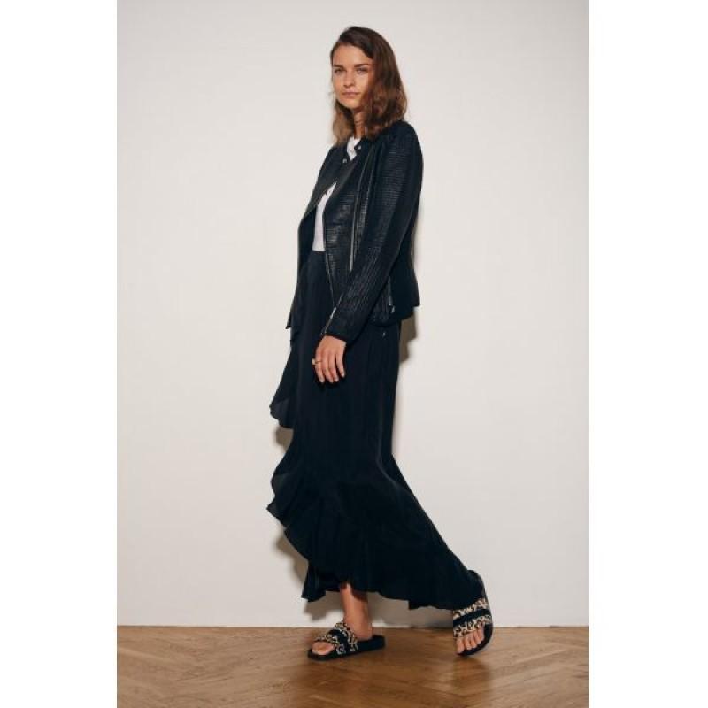 Coster Copenhagen Long Skirt W. Ruffle Black