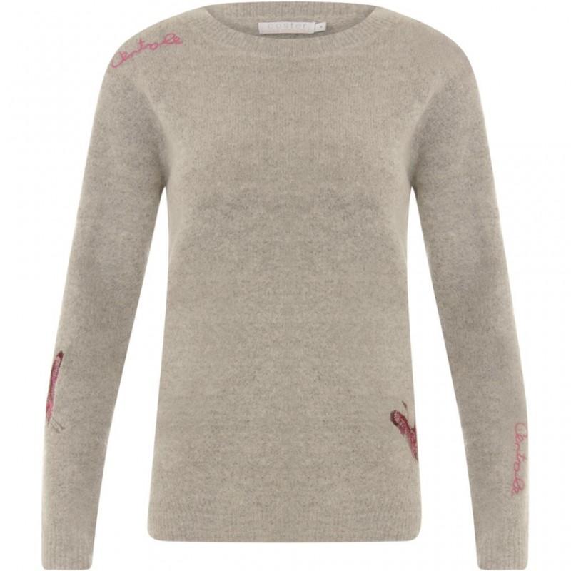 Coster Copenhagen Mohair Knit W. Embroidery Light Grey Melange