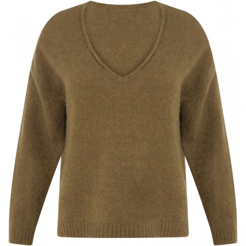 Coster Copenhagen Mohair V-Neck Sweater Olive