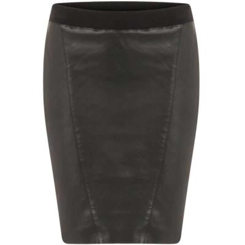 Coster Copenhagen Pencil Skirt In Leather W. Jersey Back Black