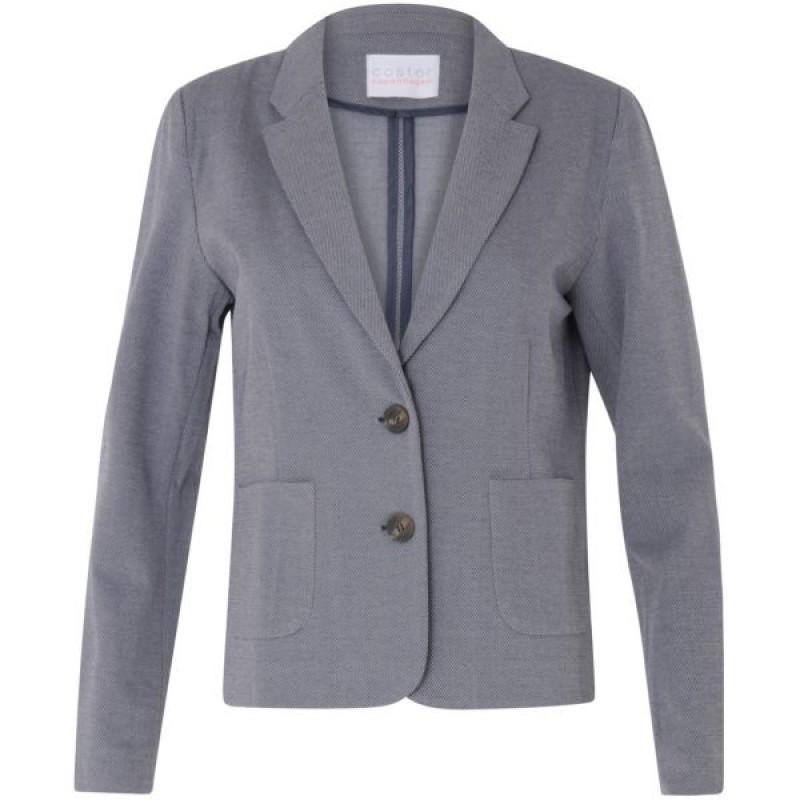 Coster Copenhagen Short Jersey Suit Jacket Wavy Blue