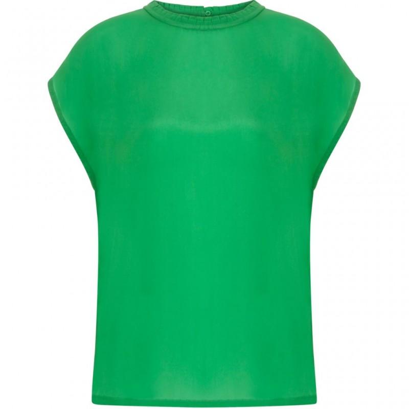 Coster Copenhagen Short Sleeve Top W. High Collar Grass Green