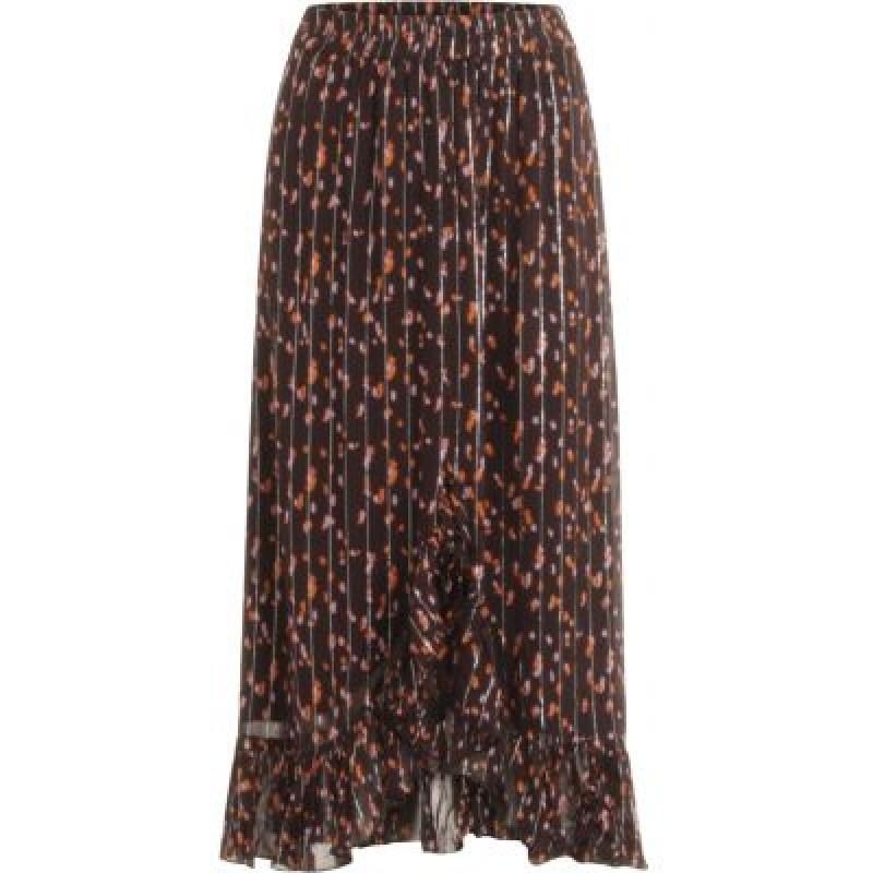Coster Copenhagen Skirt In Seeds Print W. Tie And Ruffle Blackberry