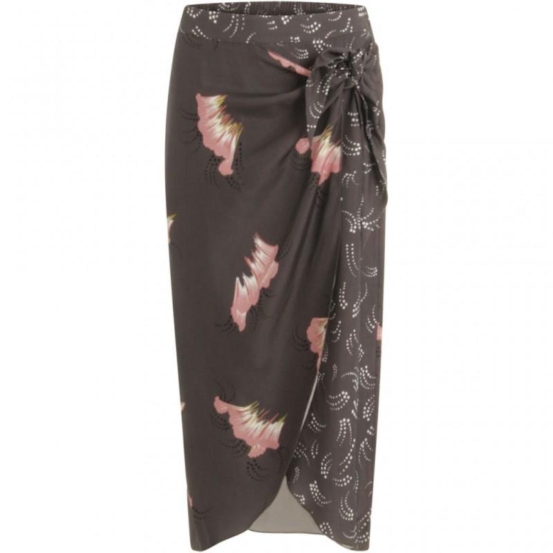 Coster Copenhagen Skirt In Sky Print W. Dot Print Detail Grey Plum