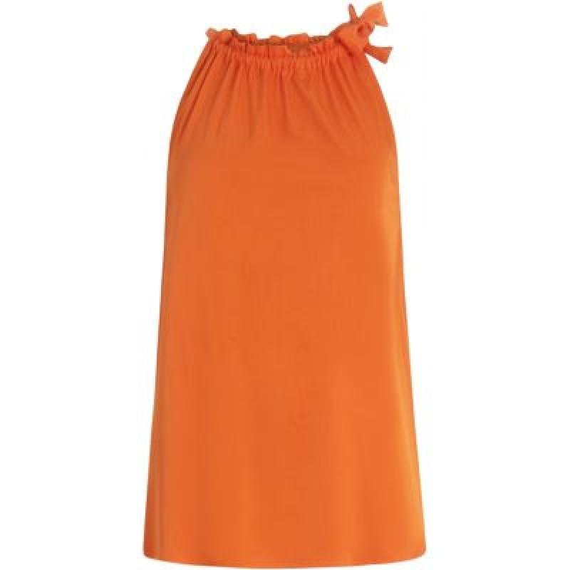 Coster Copenhagen Sleeveless Top In Stretch W. Tied Neckband Shocking Orange