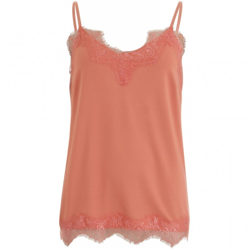Coster Copenhagen Strap Top W. Lace Canyon Rose