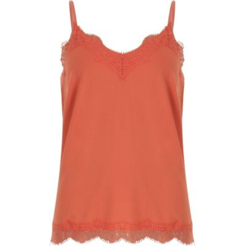Coster Copenhagen Strap Top W. Lace Coral Rose