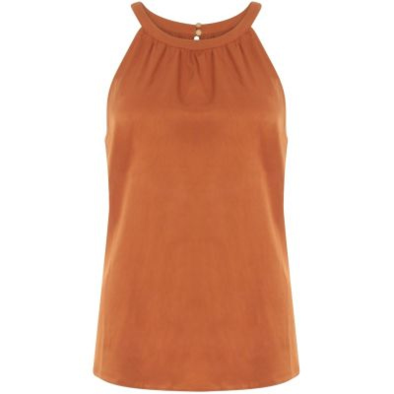 Coster Copenhagen Strap Top W. Wrinkle At Front Rust