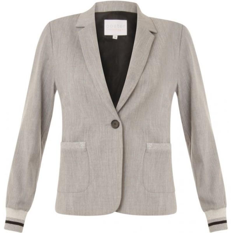 Coster Copenhagen Suit Jacket W. Rib At Cuff Light Grey Melange