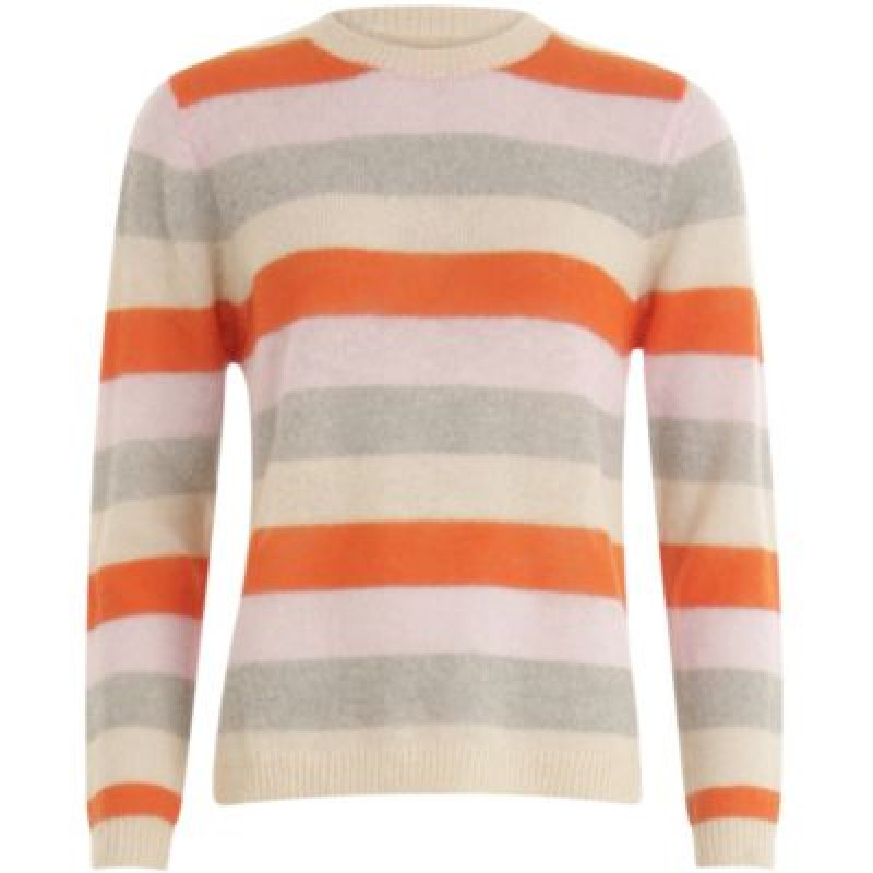 Coster Copenhagen Sweater In Mohair Knit W. Stripes Shocking Orange/Cloud Pink