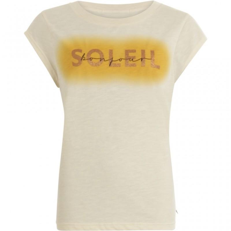 Coster Copenhagen T-shirt W. Bonjour Soleil Print Cream