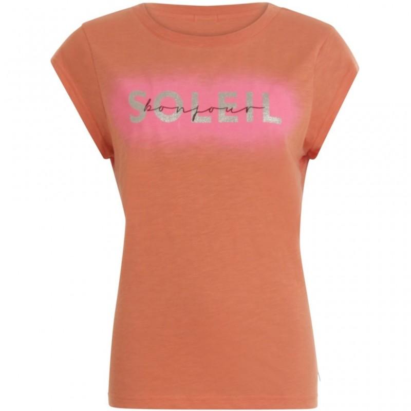 Coster Copenhagen T-shirt W. Bonjour Soleil Print Paprika