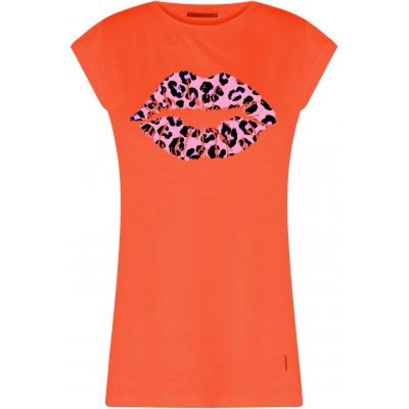 Coster Copenhagen T-shirt W. Leopard Lips Shocking Orange W. Cloud Pink Leopard Kiss
